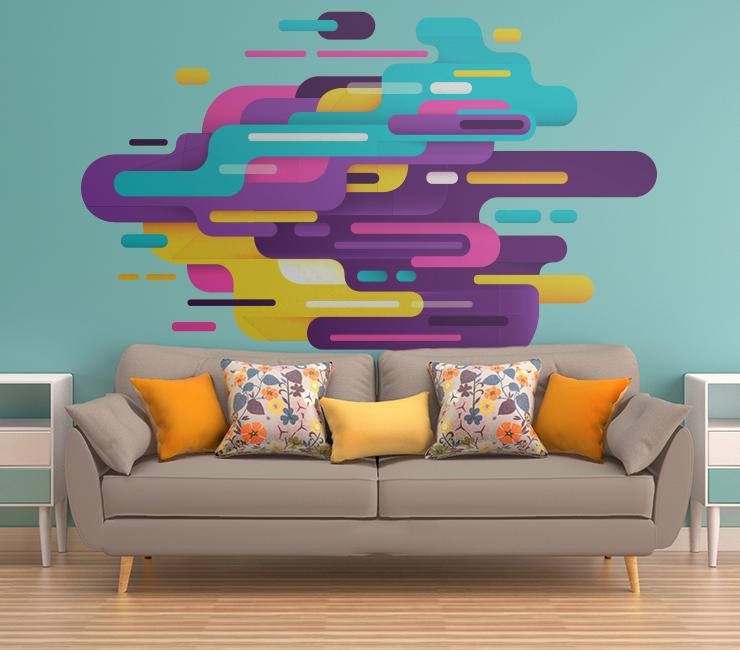 decoração com Adesivos Abstratos