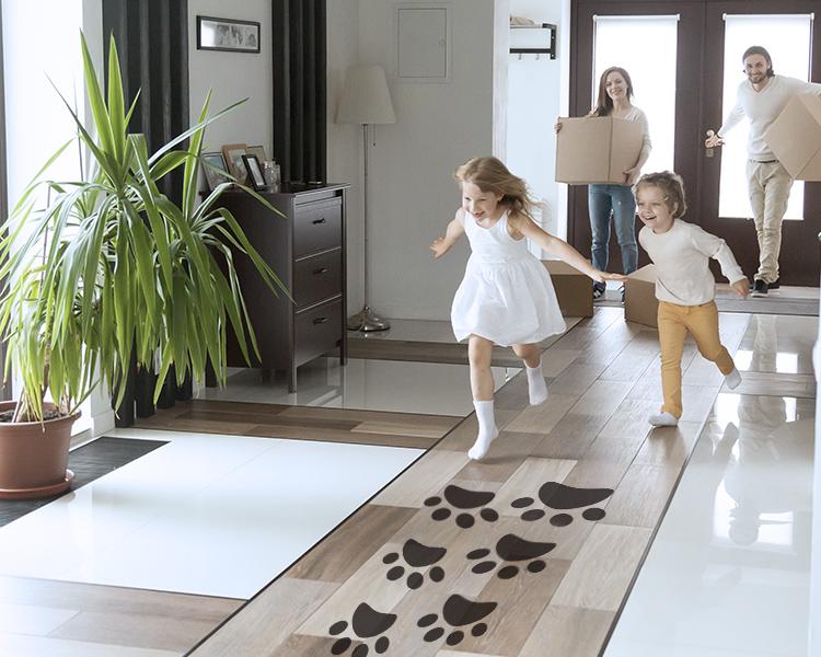 pegadas de coelho de páscoa adesivo de piso