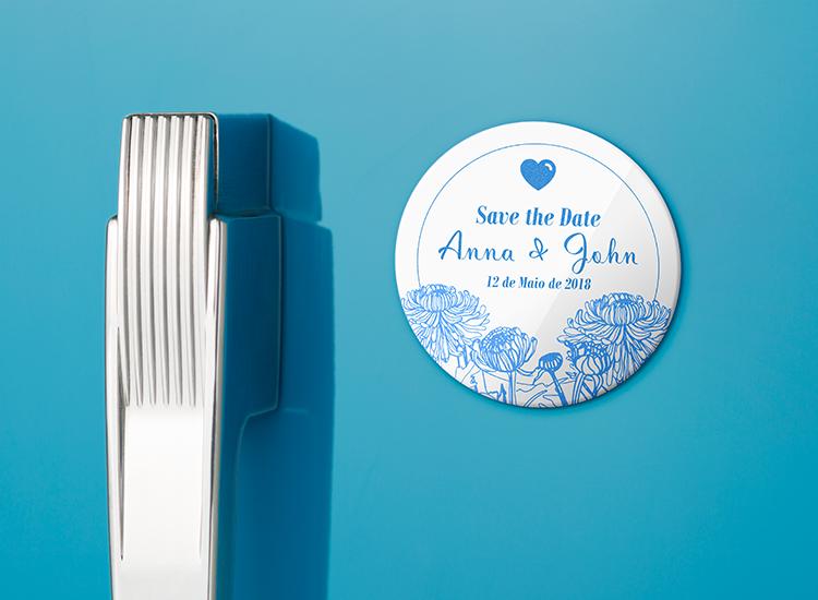 ideia de save the date ímã de geladeira