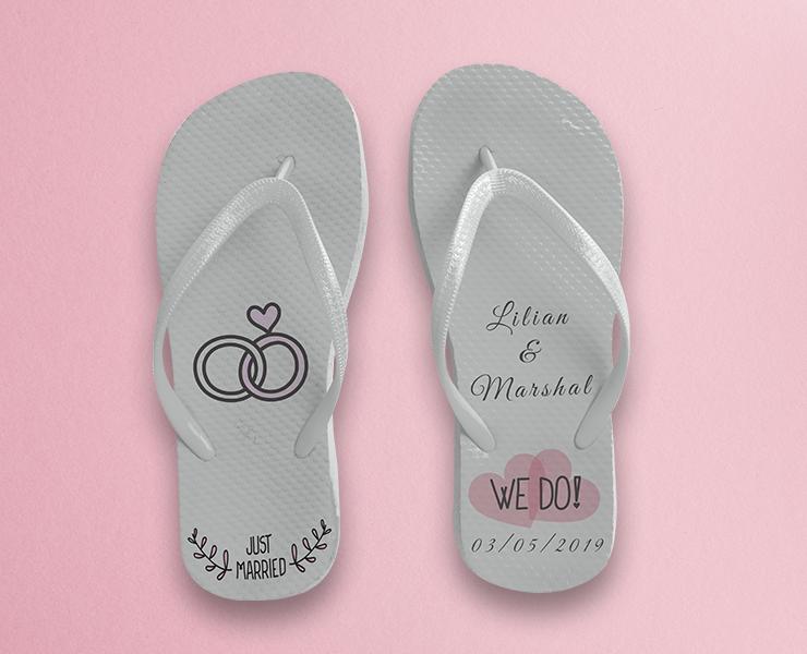 inspiração de chinelo personalizado como lembrancinha de casamento