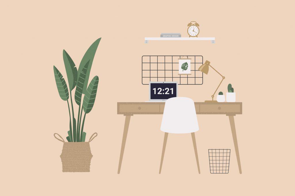 Espaço de trabalho, estúdio, Home Office com computador.