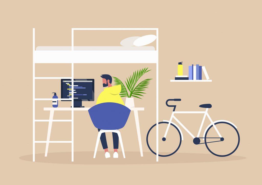 Homem trabalhando Home Office, mesa com computador, bicicleta.