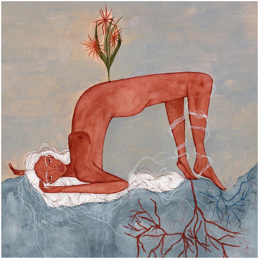 imagem de mulher negra com raízes que se transformam em uma flor