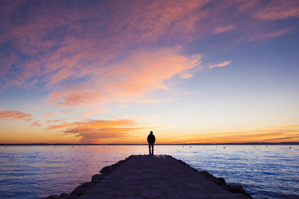 Foto de paisagem com pôr do sol