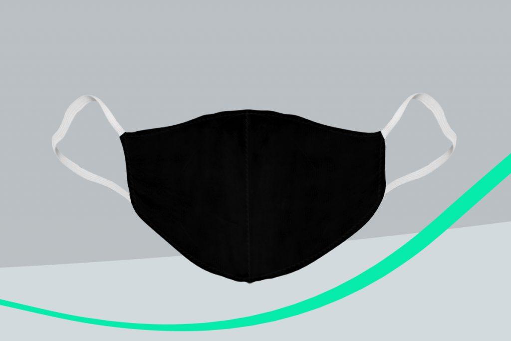 máscara de poliéster preta