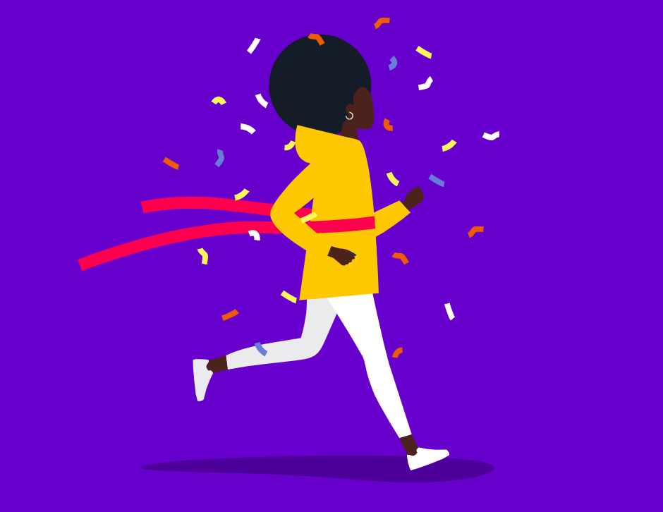 ilustração mulher negra vencendo uma corrida