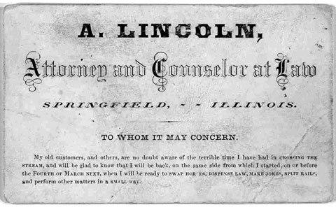 Cartão de Abraham Lincoln, ex presidente dos Estados Unidos