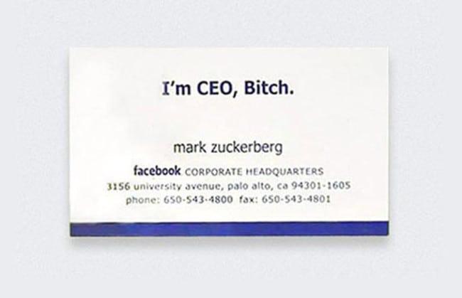 Cartão de visita Mark Zuckerberg, CEO do Facebook