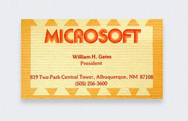 Cartão Bill Gates, presidente da Microsoft