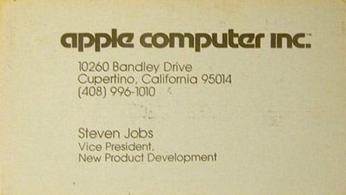 Cartão de Steve Jobs, presidente da Apple