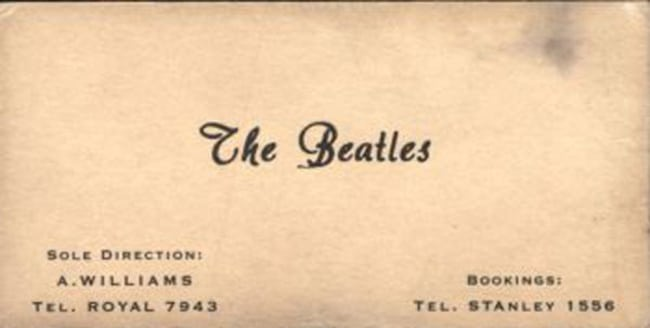 Cartão de Os Beatles, banda de rock