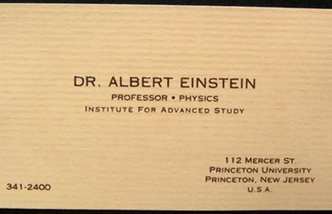 Cartão de visita Albert Einstein, físico