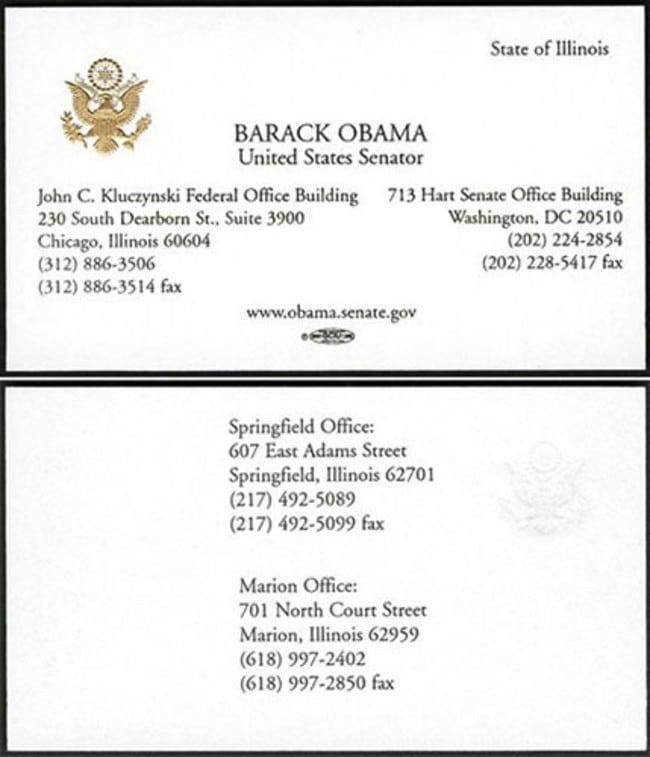 Cartão de visita Barack Obama, senador