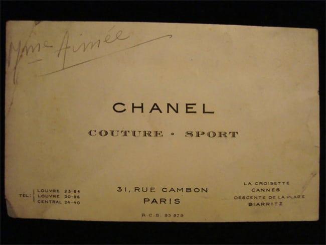 Cartão de Coco Chanel, estilista