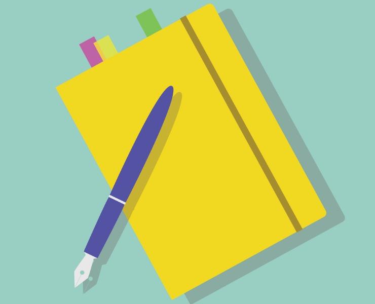 caderno para anotar planos de negócio