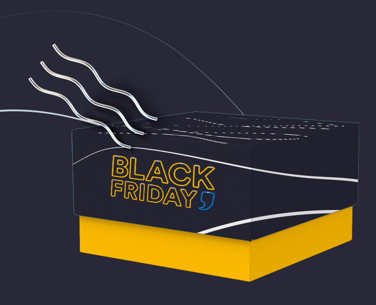 caixa com tampa black friday da printi